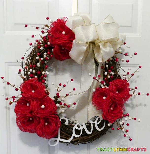 Your Loopy Burlap Flower Valentines Wreath is now ready to hang on your door