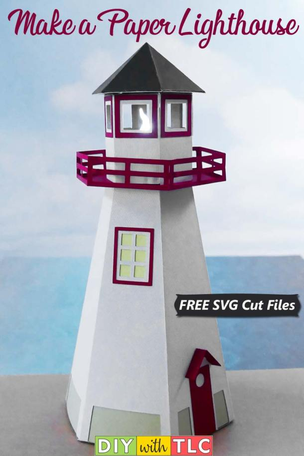 You can make your own 3D paper lighthouse to decorate your paper village | #diy #cricut #paper #paper_crafts #lighthouse #belanger #belanger_park #light_house #free_svg