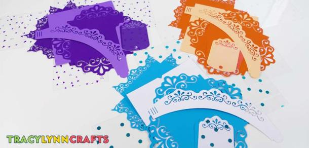 You can make the decorative cupcake boxes from many different color combinations