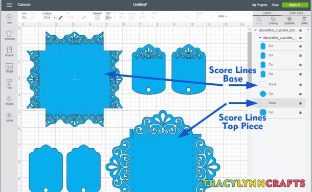 Score lines for the decorative cupcake box top and bottom pieces