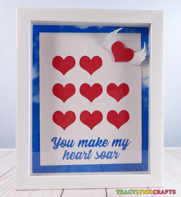 Shadow Box Heart Art with the blue sky background