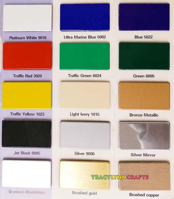Colors of aluminum composite materials that you can use for Cricut crafts
