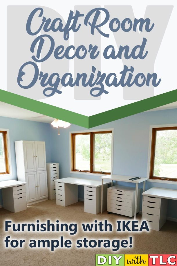See which pieces of IKEA furniture I picked out to add lots of storage and work surfaces in my craft room organization