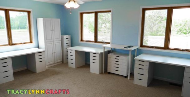 This is the completed assembly of the IKEA furniture for the craft room showing four of the work surfaces