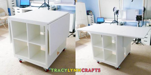 The drop leaf craft table is now complete