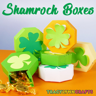 Learn to make these quick and easy paper shamrock boxes