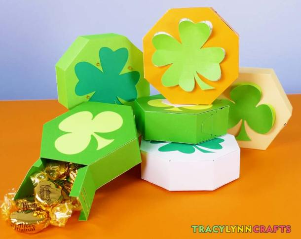You can learn to make these adorable paper shamrock boxes with three and four leaf clover designs