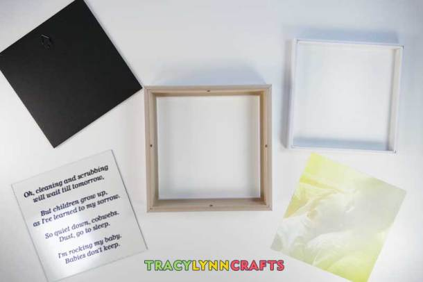 Gather together the components of the shadow box frame