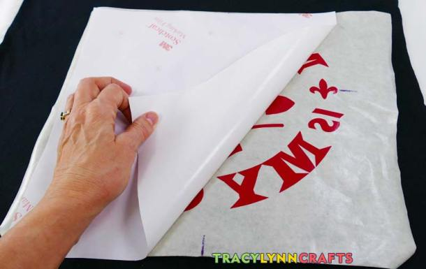 Peel the backing paper from the vinyl - keeping the vinyl attached to the transfer tape