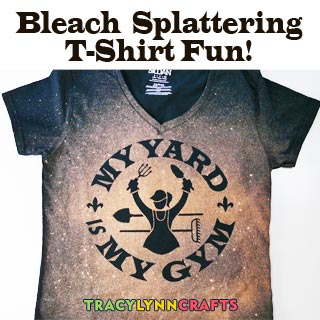 Use the bleach splattering technique to make this fun T-shirt for your gardening friends