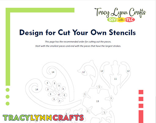 Recommended cutting order for the stenciled tote bag design