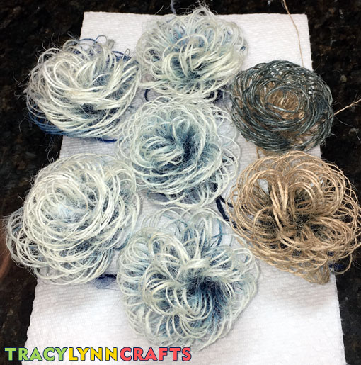 Final look of the ombre burlap flowers