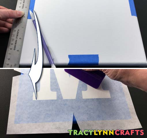 Make center line marks and align registration cuts to the marks