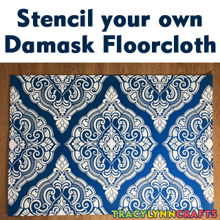 Stenciled Damask Floorcloth