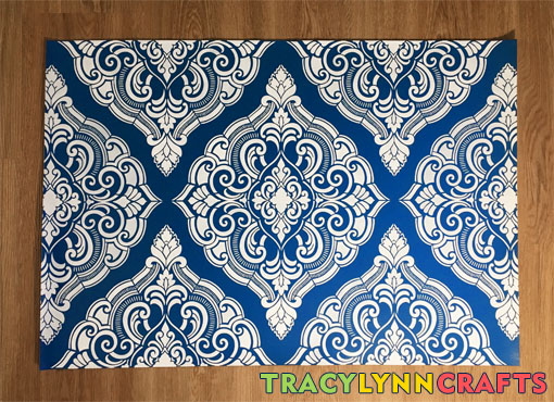 Stenciled damask floorcloth in a weekend