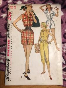 Simplicity 4337 Playsuit, Cover All, Jump Suit, Bomb Shell, WWII, 1940s Vintage Pattern