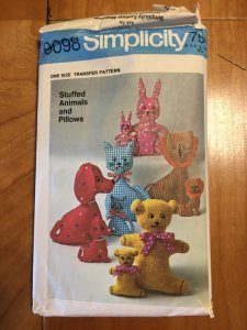 Vintage Simplicity 9098 Children's Stuffed Animal Pattern Dog Cat Bunny Bear Lion