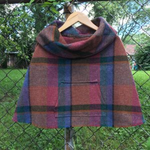 Wool Plaid Children's Caplet Cape
