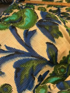 Vintage Slightly Sheer 1950s Large Floral Print Teal Olive Green Blue