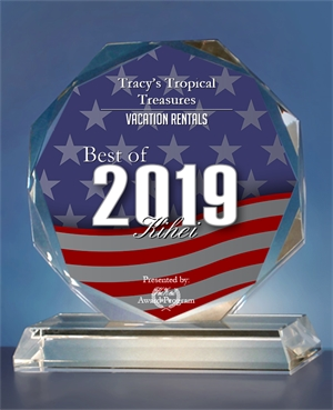 2019 best of kihei vacation rentals award tracy's tropical treasures