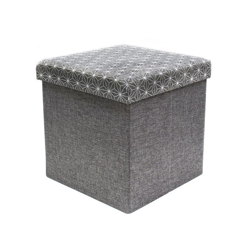 grossiste coffre rangement pouf pliable gris tradaka