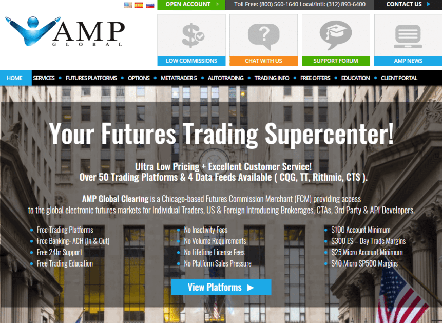 AMP Futures brokerage homepage