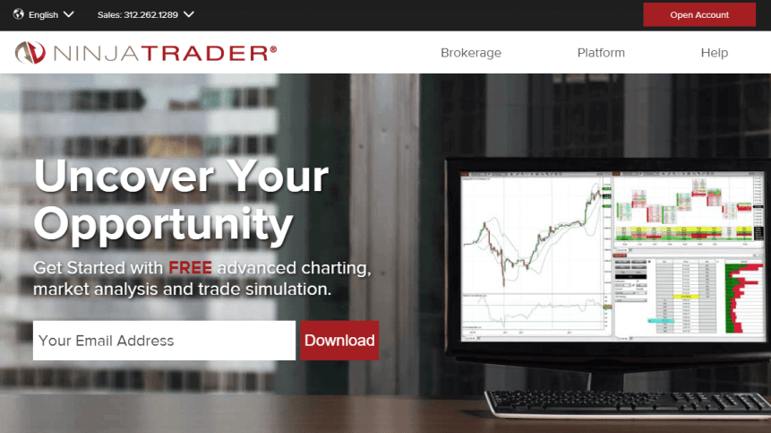 NinjaTrader brokerage homepage