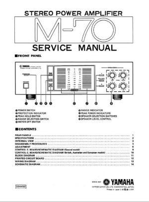 Yamaha M70 Power Amplifier , Original Service Manual