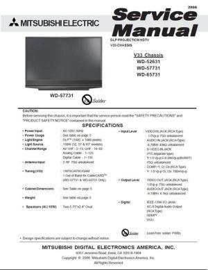 Mitsubishi WD57731 , V33 , Service Manual & Schematics