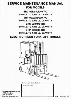 Yale Electric Rider Fork Lift Truck Type AC, BC: ERP020, ERC025, ER
