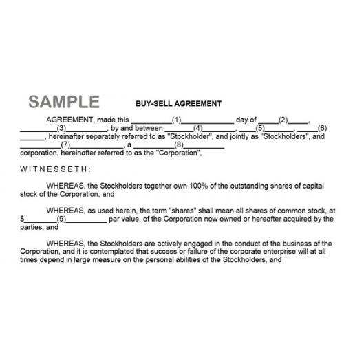 Buy Sell Agreement Form Instant Download