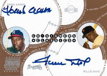 2003 Stadium Club Co Signers Hank Aaron Willie Mays Autograph