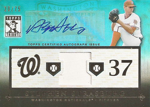 2010 Topps Tribute Baseball Autographed Relic Stephen Strasburg