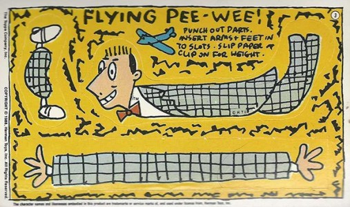 1988 Pee Wees Playhouse Activity Cards Flying Things
