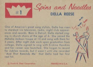 1960 Fleer Spins and Needles 1 Della Reese Reverse
