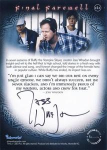 2003 Buffy the Vampire Slayer Season 7 Final Farewell Joss Whedon Autograph