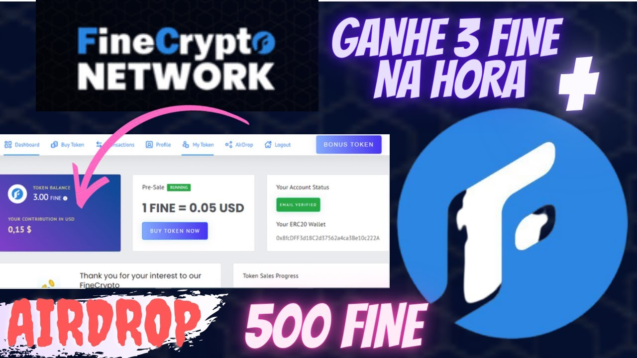 🚀Airdrop FineCrypto Network Ganhe 500 FINE + $2,50 por ref + bonus diario PAGO NA HORA 3 FINE