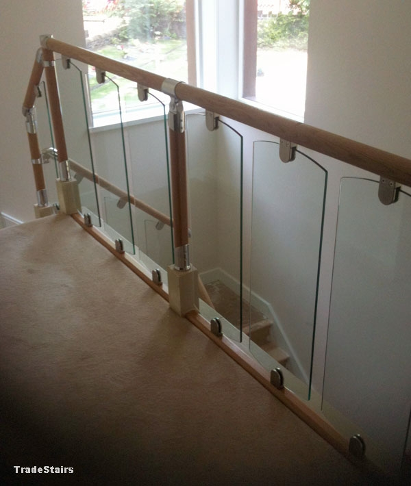 S Vision Glass Balustrade System Oak Handrails Stair Banister   Glass And Chrome Banisters   Designer   Wooden Glass   Frosted Glass   Oak   Contemporary