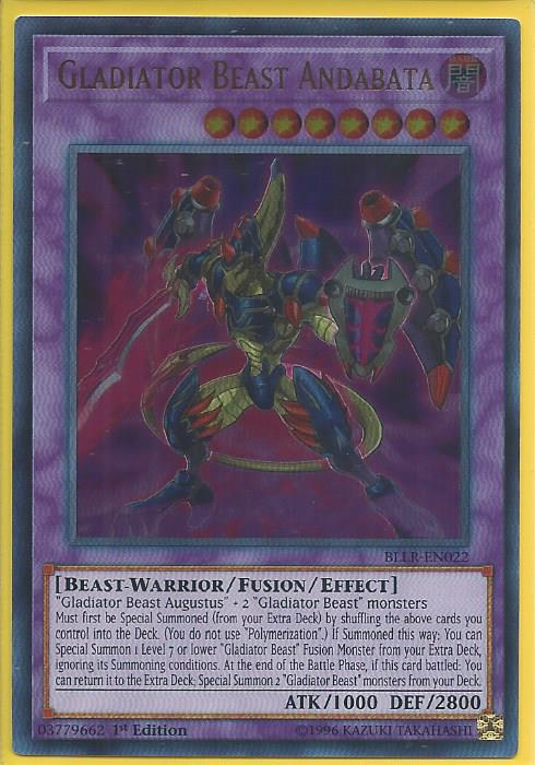 BLLR-EN022 Gladiator Beast Andabata Ultra Rare 1st Edition Mint YuGiOh Card