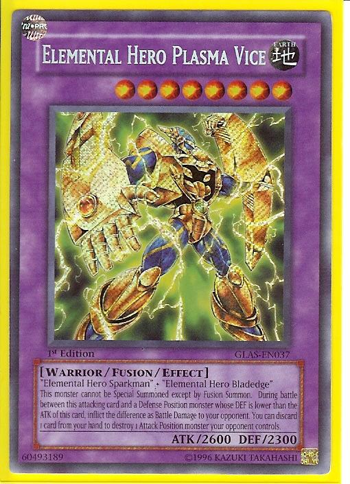 Elemental Hero Plasma Vice GLAS-EN037 Secret Rare NM Gladiator/'s 2B3