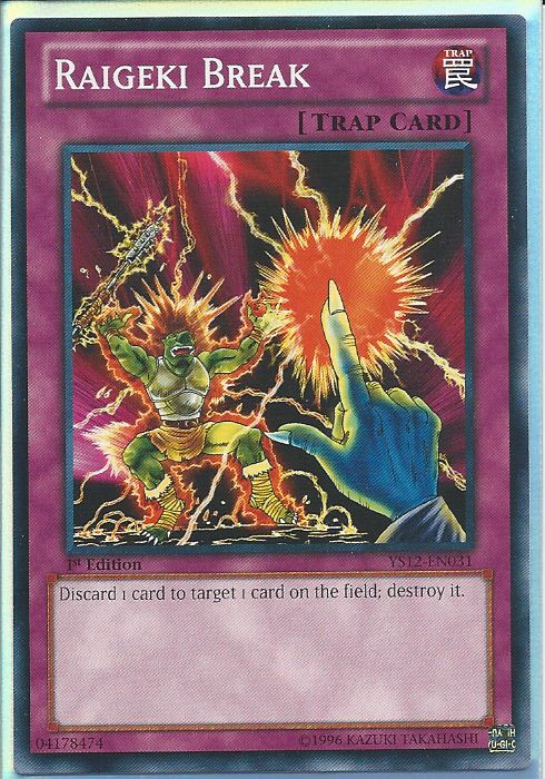 Yu-Gi-Oh! kaartspellen YS12-EN031 Raigeki Break 1st Edition Mint YuGiOh Card