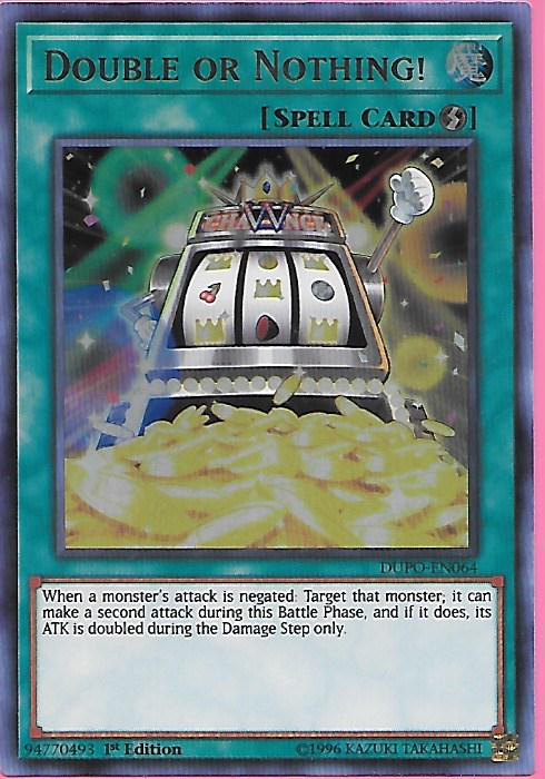 YuGiOh DUPO-EN064 DOUBLE OR NOTHING Ultra Rare 1st Edition Mint DUEL POWER