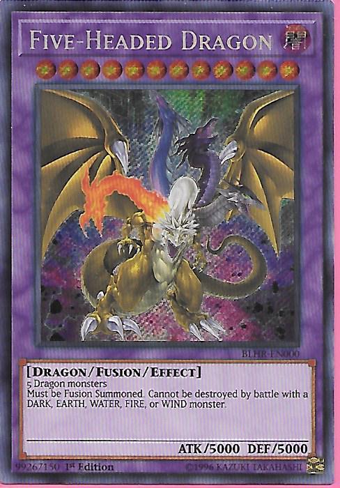 1st Edition Secret Rare Yugioh Five-Headed Dragon BLHR-EN000
