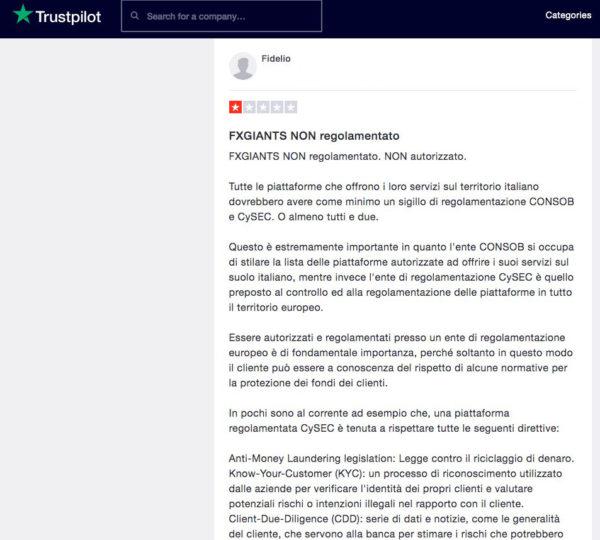 FxGiants Recensioni Trustpilot