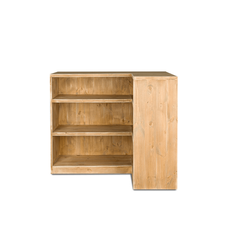 comptoir de magasin avec angle bois massif