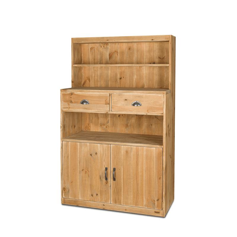 buffet de service h160 cm 2 tiroirs 2 portes bois massif