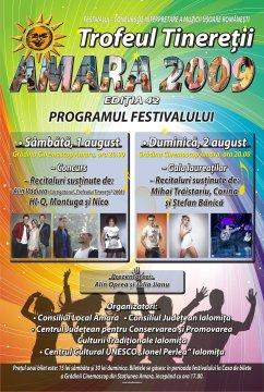 """Festivalul-Concurs Naţional de Interpretare a Muzicii Uşoare Româneşti """"Trofeul Tinereţii"""" - Amara • Ediţia 42 • 1-2 August 2009"""