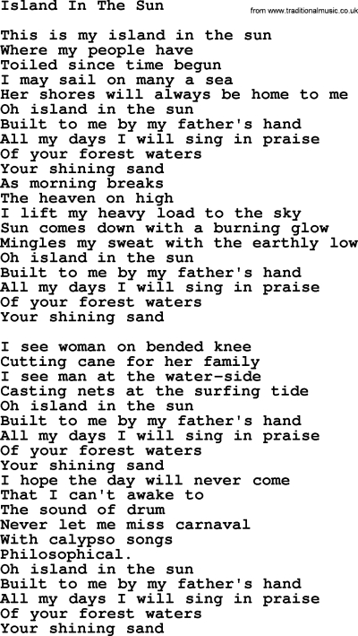 Joan Baez song - Island In The Sun, lyrics