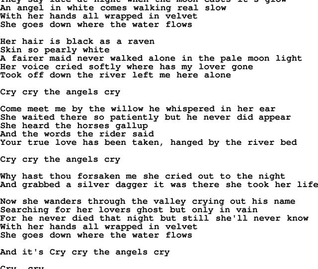 The Byrds Song Angels Cry Lyrics