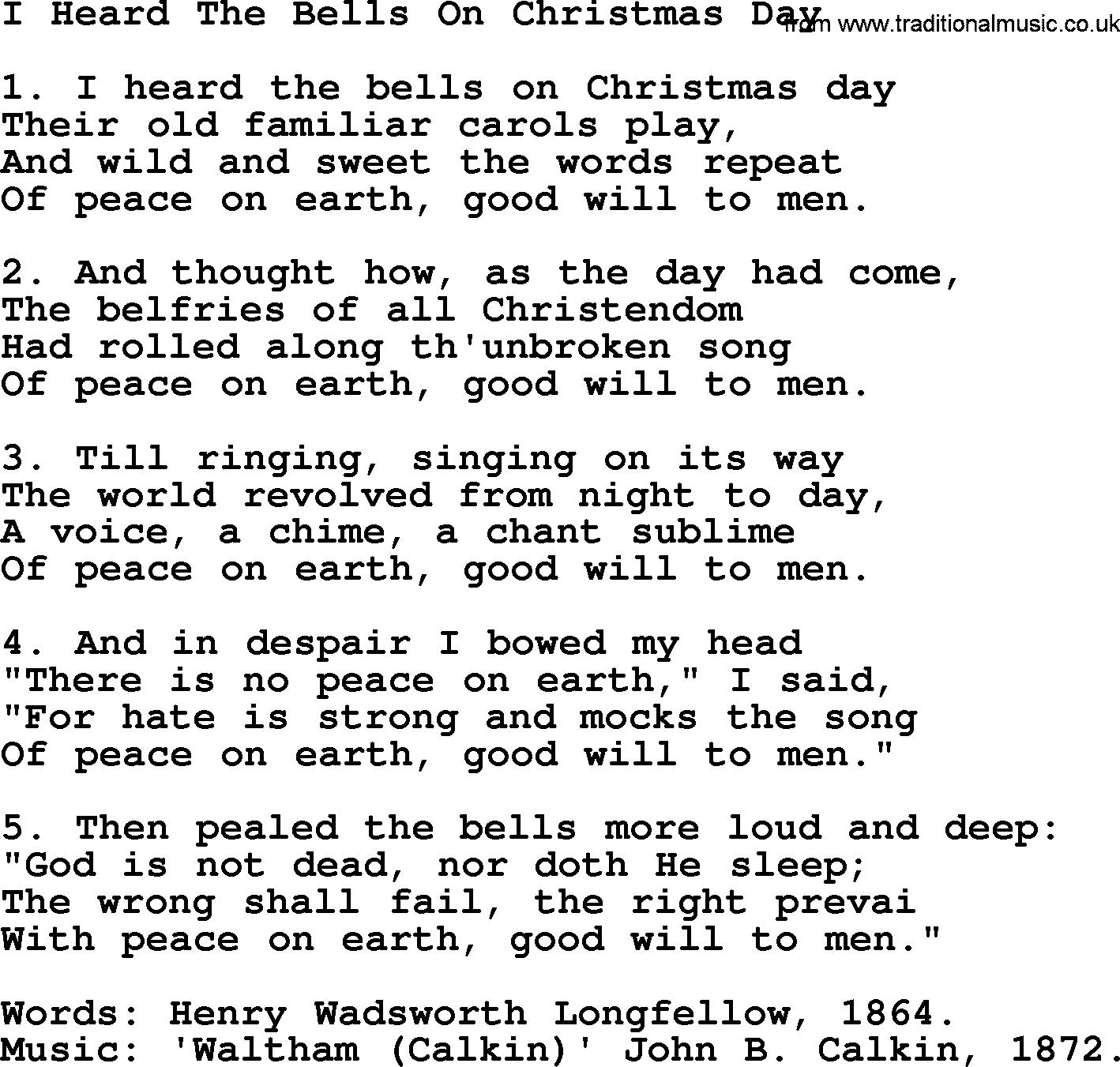 i heard the bells chords - I Heard The Bells On Christmas Day Chords